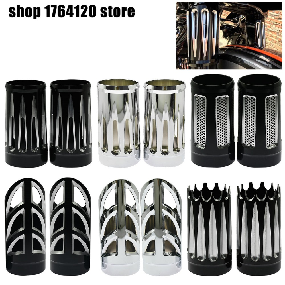 Motorcycle Aluminum  Fork Boot Slider Covers Absorber For Harley Touring Road King Electra Street Glide 1984-2013