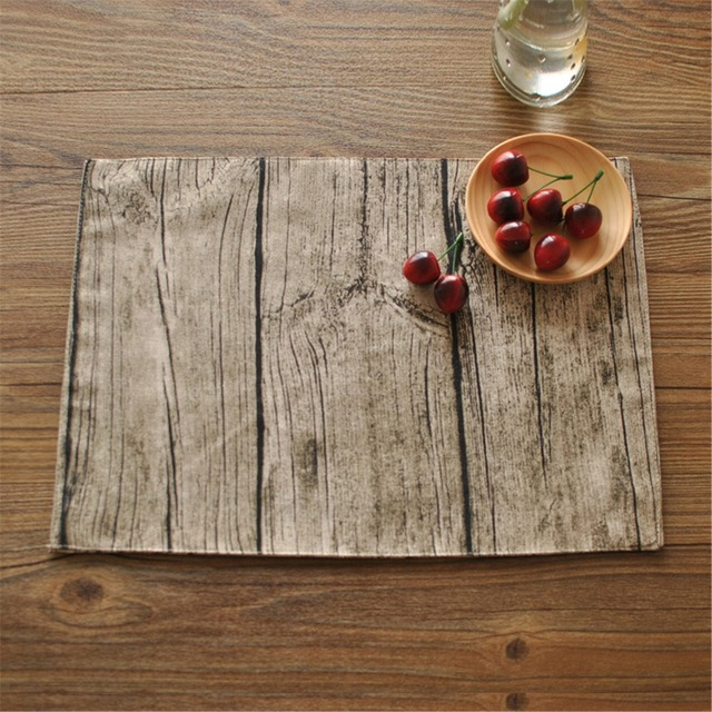 FUYA Vintage Cotton Wood Table Cloth Simulation Bark Pattern Deck Napkin  Roasted Tea Series Mat Pads