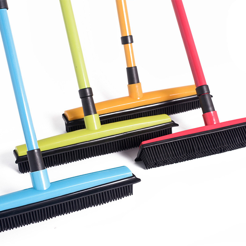 Long Push Broom Rubber Bristles Sweeper Squeegee Scratch Free Bristle Broom for Pet Cat Dog Hair Carpet Hardwood Windows Clean image