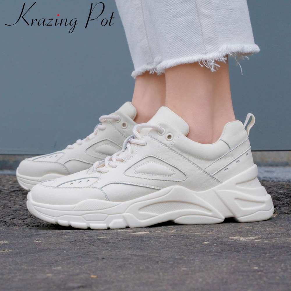 2019 high fashion white sneaker genuine leather lace up casual shoes med bottom platform concise breathable