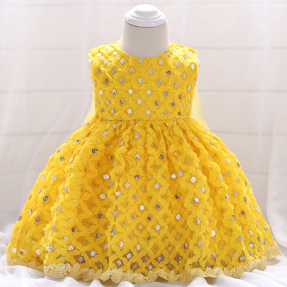 Baby girl Lace Sequin Embroidery Bow High Waist Dress Mesh Princess Dress Vestido Birthday Party dresses Wedding tutu dress