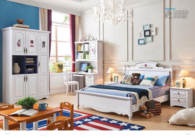 JLMF821 Ash solid wood children bedroom furniture set health Environmentally friendly children bed wardrobe desk bedside table