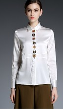 Heavy silk women long sleeve shirts Pure color new mulberry silk blouse manual nail drill
