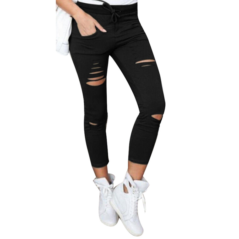 Women Autumn High Elastic Fashion Brand   Pants   Torn Ripped Hole Knee Skinny Pencil   Pants   Slim   Capris   Pantalones de Tobillo Hot
