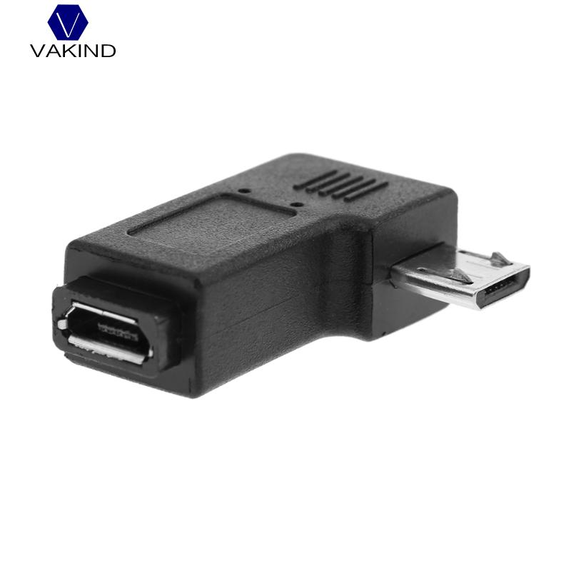VAKIND Black Right Angle 90 Degree L Shape Adapter Micro USB Female To Micro USB Male Adapter Charging Cable Connector Adapter 1 pcs 90 degree right angle direction usb tpye a 5pin right angle micro b male to male adapter data sync charge cable cord