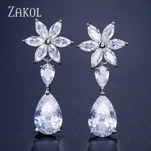 ZAKOL Luxury Water Drop Cubic Zircon Long Dangle Earrings for Elegant Women Bridal Wedding Jewelry  Dress FSEP2291