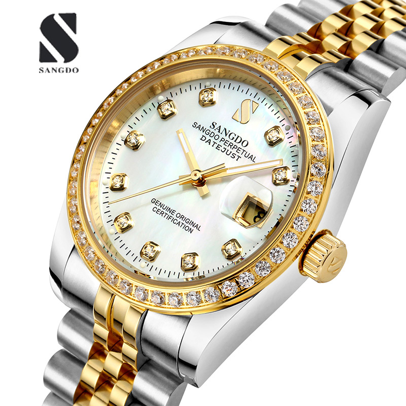 Luxury SANGDO watch men Luminous gold Stainless steel Automatic mechanical gold waterproof calendar watch relogio masculine decool 3117 city creator 3 in 1 vacation getaways model building blocks enlighten diy figure toys for children compatible legoe