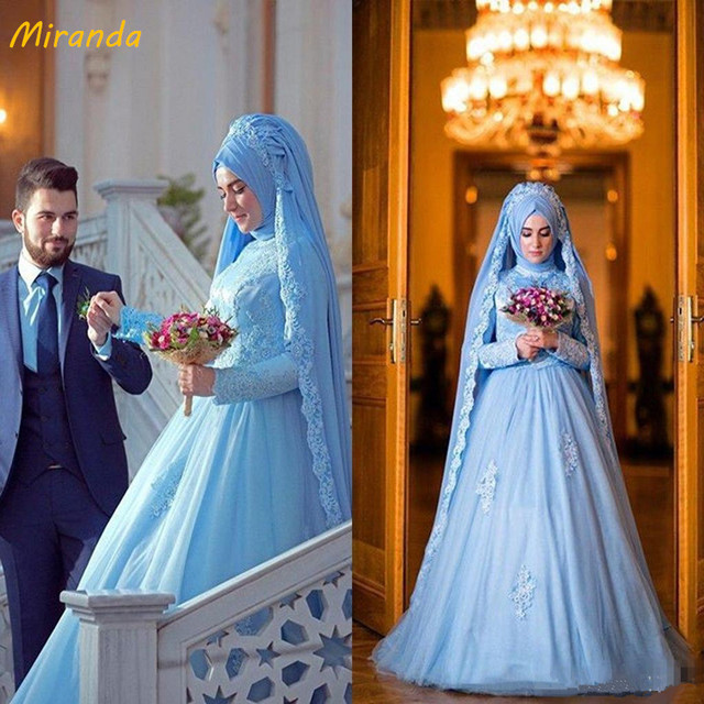 edf405e07ac66 Elegant Long Sleeve Muslim Dress For Wedding With Hijab Gelinlik Blue Lace  Women Vestidos De Novia Plus Size Arabic Engagement