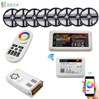 5050 WIFI RGBW LED Strip Waterproof RGBWW Flexible Tape Rope Light in Series 40M 20M +Mi Light RF Remote WIFI Controller +Power