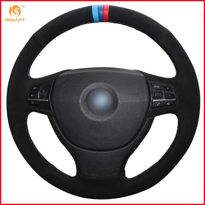 MEWANT Đen Da Lộn Màu Xanh Đậm Xanh Đỏ Bút Xe Bọc Vô Lăng cho XE BMW F10 523Li 525Li 2009 730Li 740Li 750Li Nội Thất