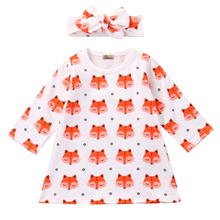 Hi Baby Store/хлопковое платье с длинными рукавами и принтом лисы для новорожденных девочек+ повязка на голову для детей 0-18 месяцев