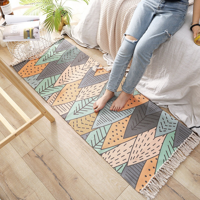 Honlaker coton tapis de chevet tissé à la main tapis Style nordique plante motif chambre tapis de sol décoration de la maison tapis antidérapant