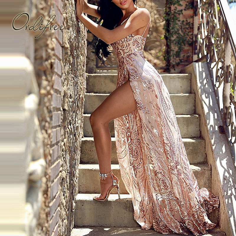 Ordifree 2019 Summer Women Long Party Dress Spaghetti Strap Transparent Mesh Maxi Sexy Backless Gold Sequin Dress