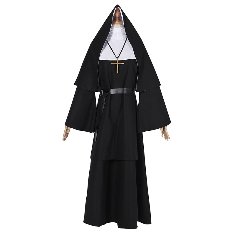 Adulte Halloween carnaval Costumes la vierge marie Costume Cosplay Sexy catholique nonne Robes vêtements foulard croix Costume - 2