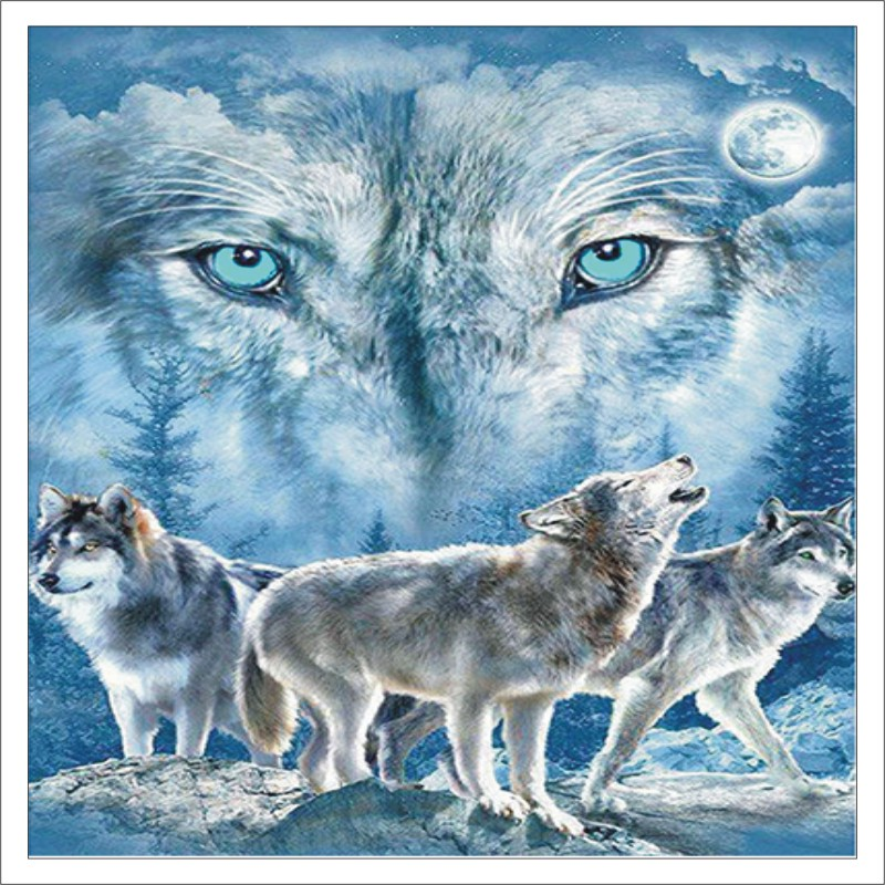 5D DIY Diamond Painting Animal Wolf Full Square Diamond Embroidered Cross Stitch Diamond Crystal Mural Home Decoration T010