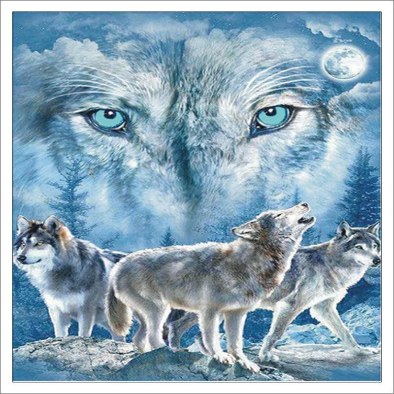 5D DIY Diamond Painting Animal Wolf Full Square Diamond Embroidered Cross Stitch Diamond Crystal Mural Home Decoration T010