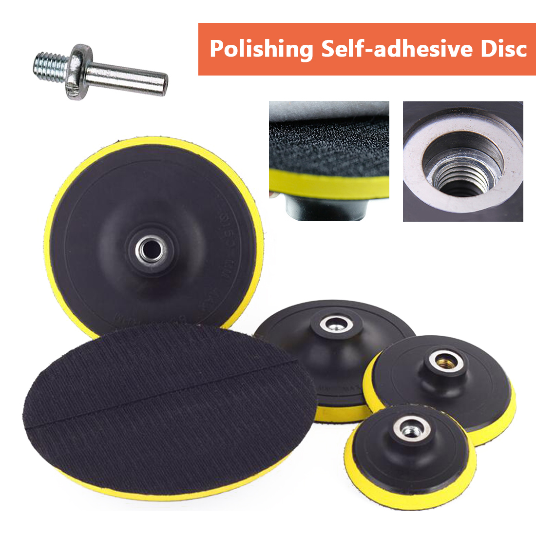 "3""/4""/5""/6""/7"" Self-adhesive Disc & Drill Rod For Car Paint Care Polishing Pad 75mm 100mm 125mm 150mm 180mm"