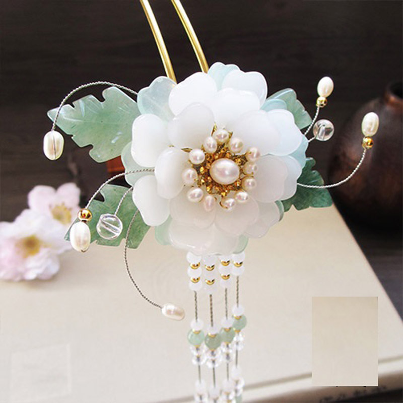 Yin Mu Dan White Glaze Petal Flower Hair Stick Vintage Chinese Hanfu Costume Accessories Green Jade Leaf Long Tassel Hair Stick