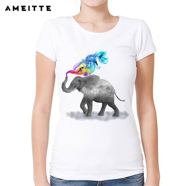 2fd4b0572422ef 2018 AMEITTE Funny Elephant Smoking T-Shirt Women s Ladies White Printed T  Shirt Summer Casual Female Tee Tops
