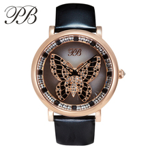 PB Marca Giratoria de Cristal Austriaco Mariposa de Lujo Vestido de Las Señoras Relojes de Cuero Genuino de la Manera Mujeres Reloj de Cuarzo de Zafiro