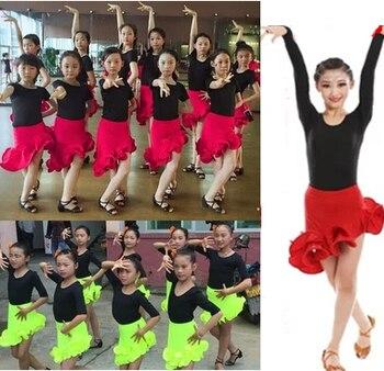 313c63176 Falda de baile con volantes para niñas niños vestido de baile latino  patrones de práctica desigual baile de salón Tango Salsa Falda de baile