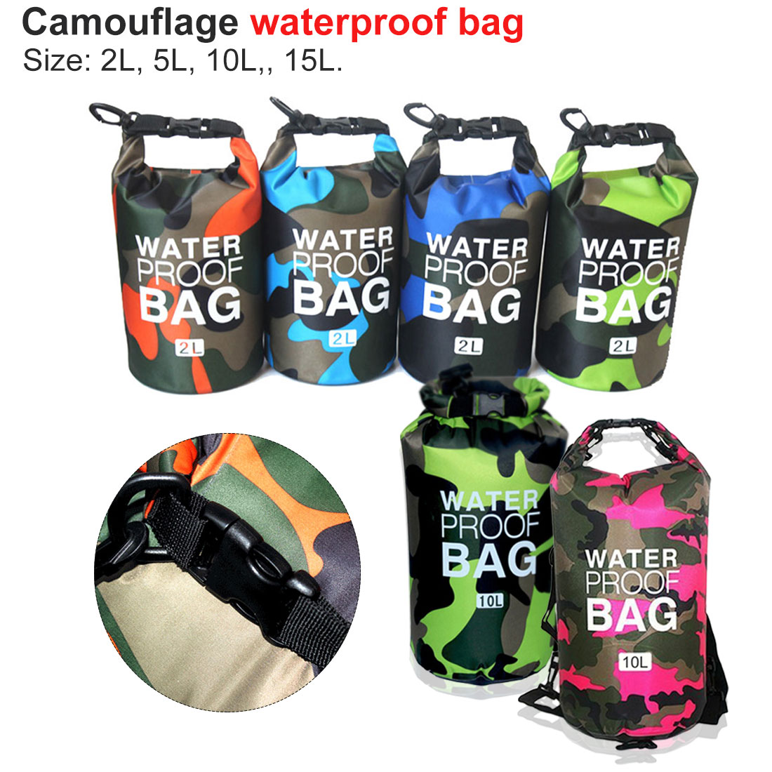 Swimming River Trekking Bags 2/5/10/15L Outdoor Camouflage Waterproof Dry Bags Portable Rafting Diving PVC