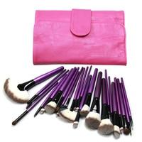 24 pcs Pro Pincéis de Maquiagem Roxo Set Pó Blush Foundation Sombra Delineador Lip Cosméticos Escova Kit com Bolsa Rosa