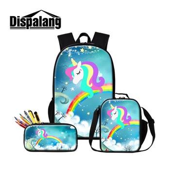 Dispalang 3Pcs School Bags Students Lunch Bag Unicorn Printing Schoolbag Pencil Case for Teenager Girls Boy Backpack Set Satchel