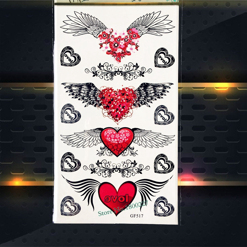 Angel Feather Temporary Tattoo Wings Heart Fake Flash Tattoo Jewelry Body Arm Sticker PGF517 Kids Xmas Gifts Supplies Tattoos
