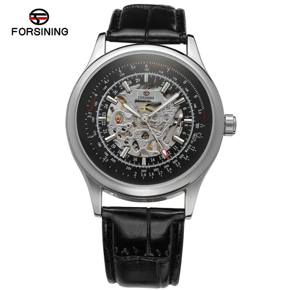Caixa da liga Cor Prata Caso Mostrador Preto Esqueleto Pulseira de Couro Genuíno Moda Casual Marca Homens relógio mecânico/FSG8100M3S2