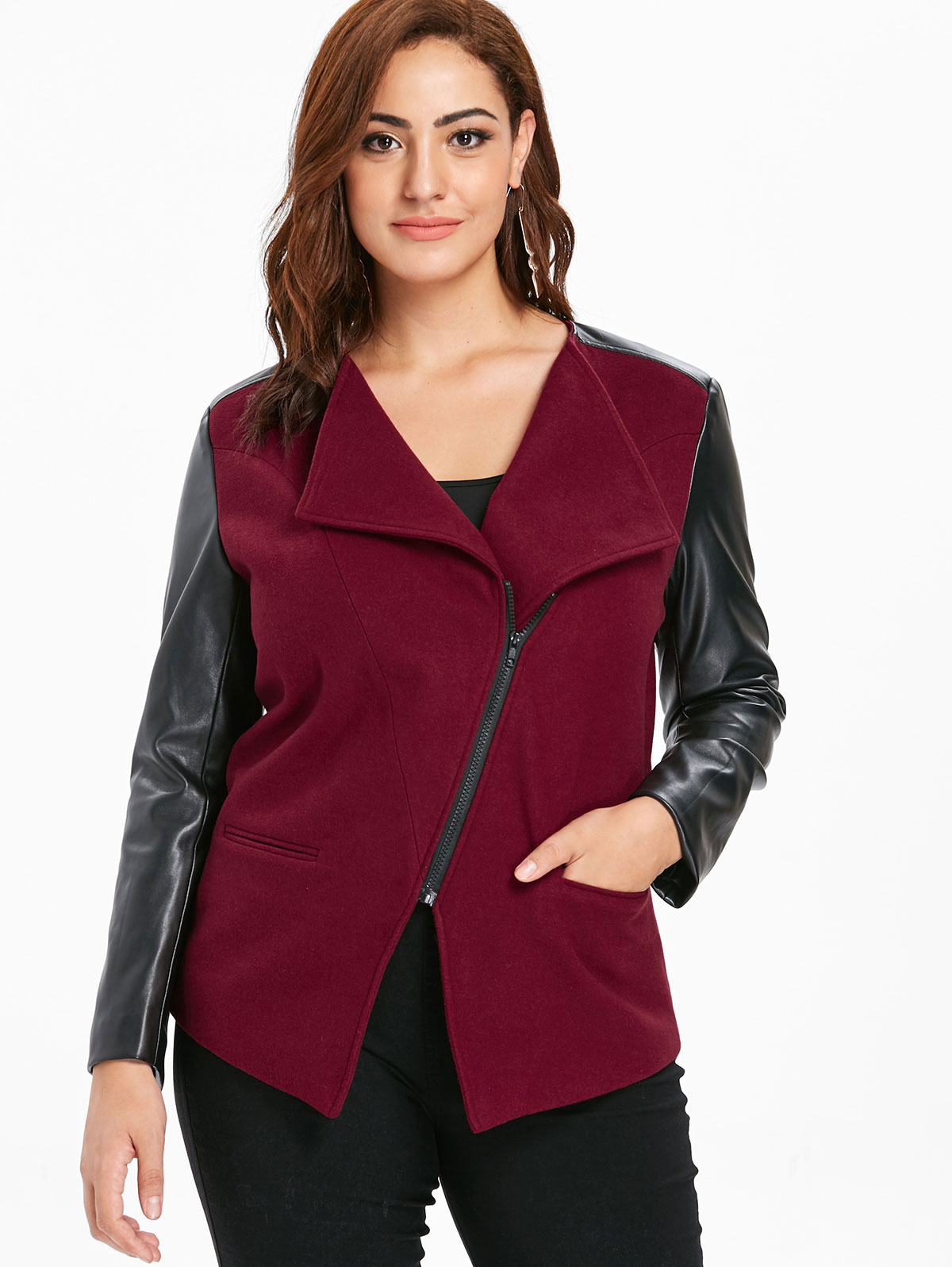 Wipalo Plus Size Faux Leather Color Block Panel Jacket Women Winter Autumn  Slim Lapel Long Sleeve Outerwear Jackets 2019 Coat 64394ae5b9e7