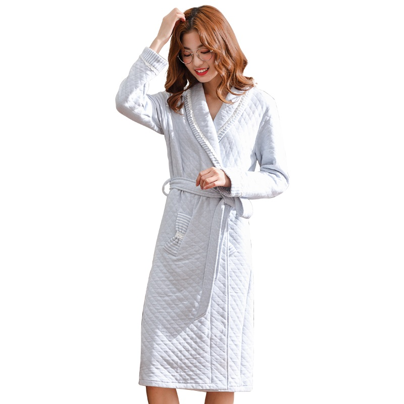 Cotton Laminated Warm Long Bathrobe Women Dressing Gown Bride Bath Robe Thin Quilted Femme Bridesmaid Robes Wedding Gowns M-3XL