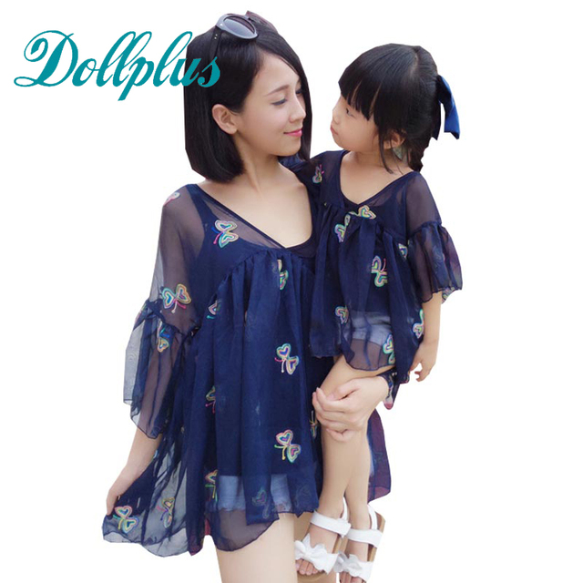 2017 summer mother daughter clothes sets fashion butterfly mom and daughter dress mother daughter matching outfits