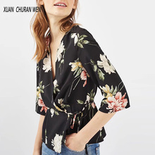 Casual Kimono Blouse Flowers Print Wrap Top Women Fashion Slim V-Neck Shirt Ladies Half Sleeve Printed Blouse New Blusas XB7218
