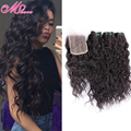 Mink Indian Virgin Hair Water Wave Bundles With Lace Closure 3 Bundles Unprocessed Indian Wet and Wavy Human Hair with Closure