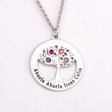 Circle Tree Necklace with Birthstones  Personalized  Birthstones Family Necklaces Custom Made Any Name YP2495