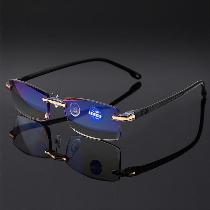 Anti Blau Licht Randlose Lesebrille Männer Diamant Schneiden Dioptrien Gläser Männlichen Presbyopie Brillen 1,0 1,5 4,0 Ausgezeichnete 2,0 Zu In QualitäT