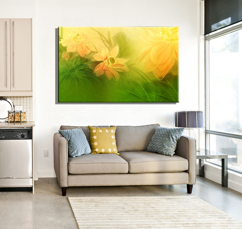 Chinese Style Flower Pink Yellow Chinese Poetry Lotus Style Canvas Art Home Decor Canvas Prints