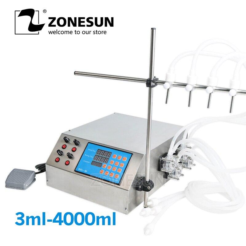 ZONESUN 4nozzle Bottle Water Filler Semi automatic Liquid Vial Desk top Filling Machine for Juice Beverage