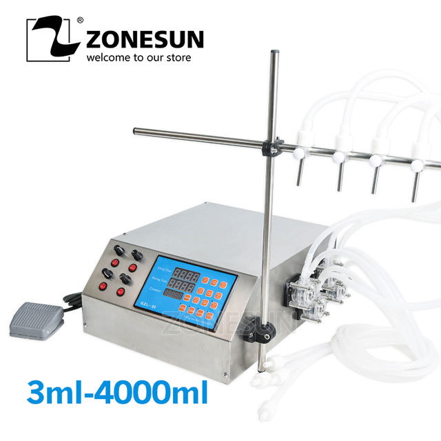ZONESUN 4nozzle Bottle Water Filler Semi-automatic Liquid Vial Desk-top Filling Machine for Juice Beverage Soy Sauce Oil Perfume