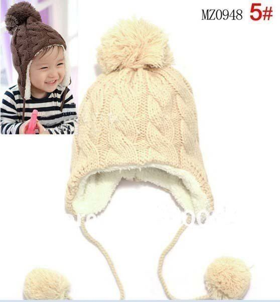 Free shipping,Stripe plus velvet children ear protectors cap, wool cap hanging ball,Children's knitted hats(5 colors) MZ0948