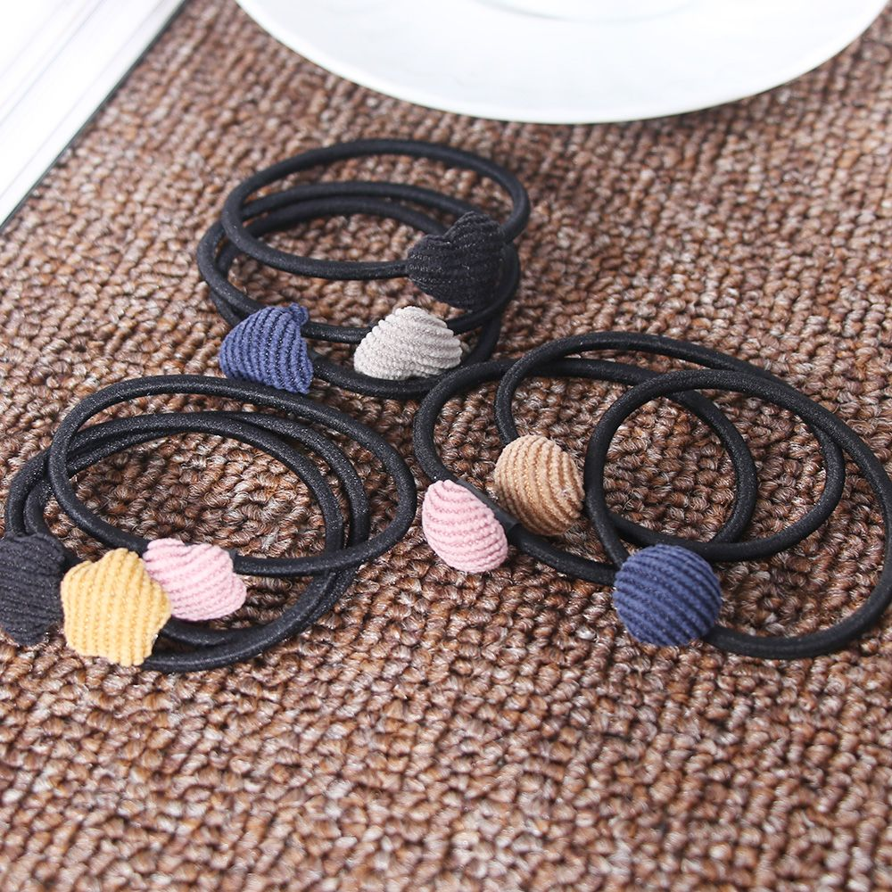 3pcs/set Girl Star Heart Round Cloth Buckle Rubber Band Hair Rope Ponytail Holder For Hair Styling Tool Braider
