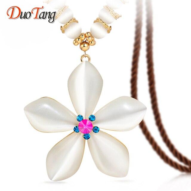 DuoTang Moda Chapado En Oro Elegante Opal Collares pendientes AAA Zirconia Flor Collares Para La Mujer del Partido de la Joyería de Regalo