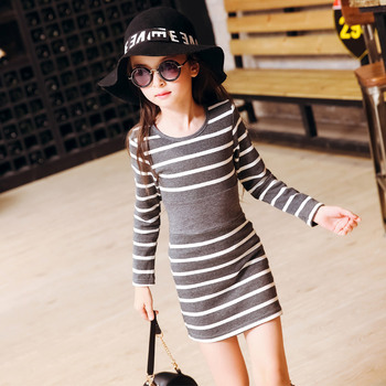 2018 Fall New Korean Girls Scout's Striped Long Sleeved Autumn Dress Hot Kids Clothing Grey Black for 4 6 8 10 12 14 years