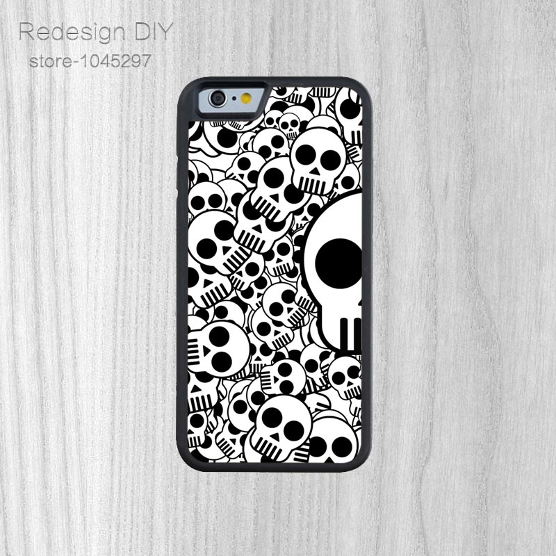 Fashion Style skull wallpaper Hard Cell Phone Back Cover For iPhone 6 6s And 4 4s 5 5s 5c 6 Plus
