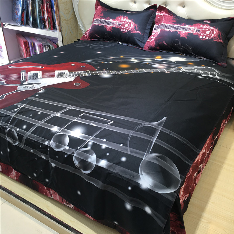 Fashion Music Notes Bedding Set Black Red Guitar Quilt Duvet