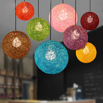 Colorful Ma Rattan Ball LED String Fairy Lights Wicker Pendant Light For Christmas Xmas Wedding decoration Party bar aisle lamps
