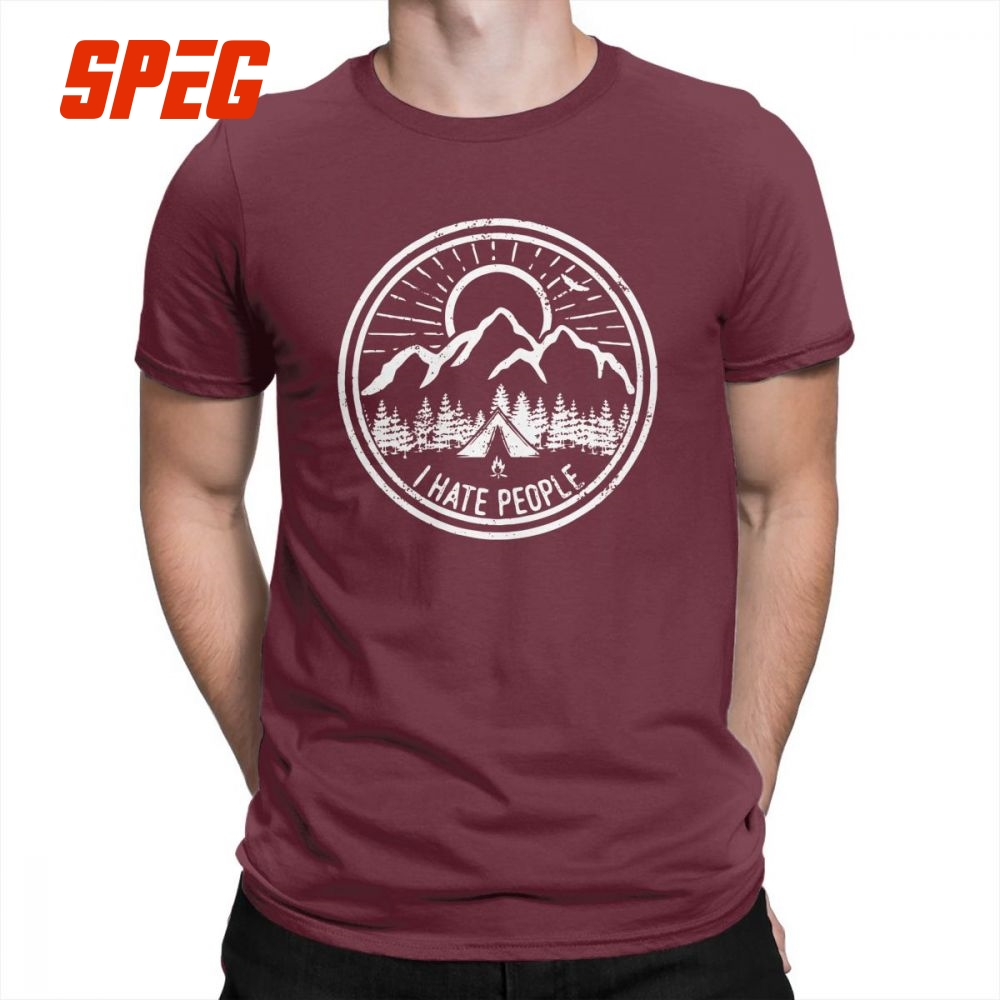 Camping I Hate People Camping Lovers Mountain Climbing Hiking Men   T     Shirts   Casual 100% Cotton Short Sleeved Tees   T  -  Shirt   Tops