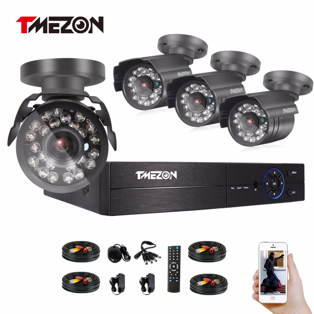 Tmezon HD AHD 4CH 1080P DVR Kit 4pcs 2.0MP 1080P Bullet Camera Security Surveillance CCTV System Outdoor Remote View By Phone tmezon 16ch dvr 16pcs 1200tvl camera security surveillance cctv system outdoor ir night vision bullet waterproof 1tb 2tb hd kit