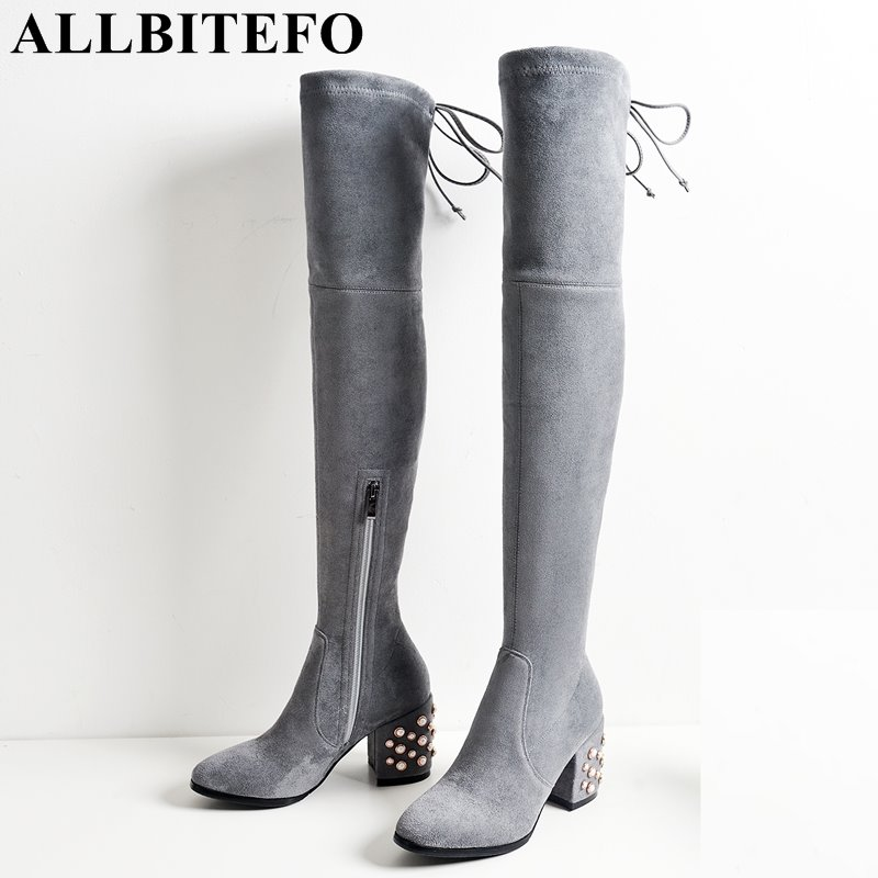 ALLBITEFO large size:34-43 flock+Stretch material medium heel women boots fashion rivets thick heel long boots girls boots